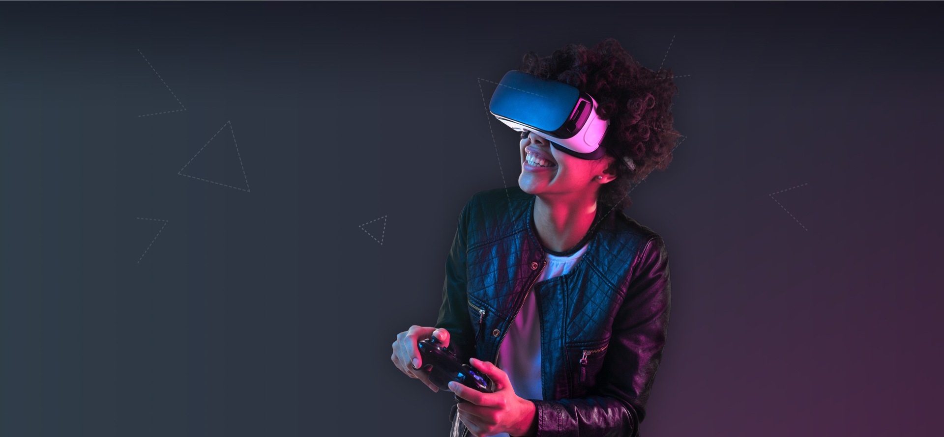 Image of a woman playing a game on with a VR headset
