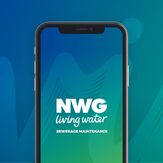 A mobile device showing the Northumbrian water group app loading screen