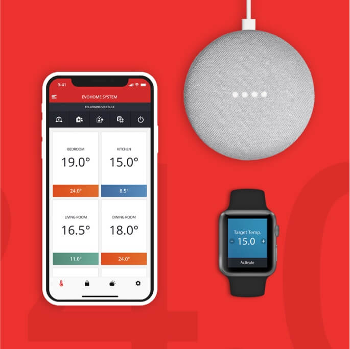 A mobile device with the Honeywell TCC home automation app open, google home device and pebble watch