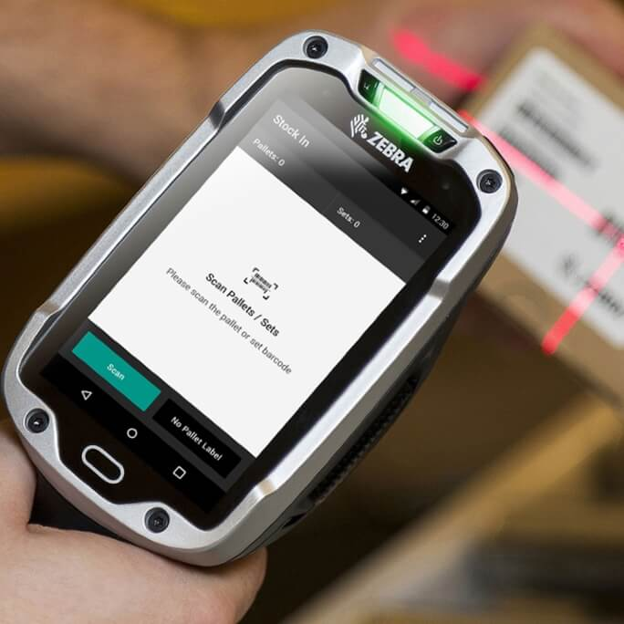 A mobile device with the next inventory app open, showing the inventory scan screen